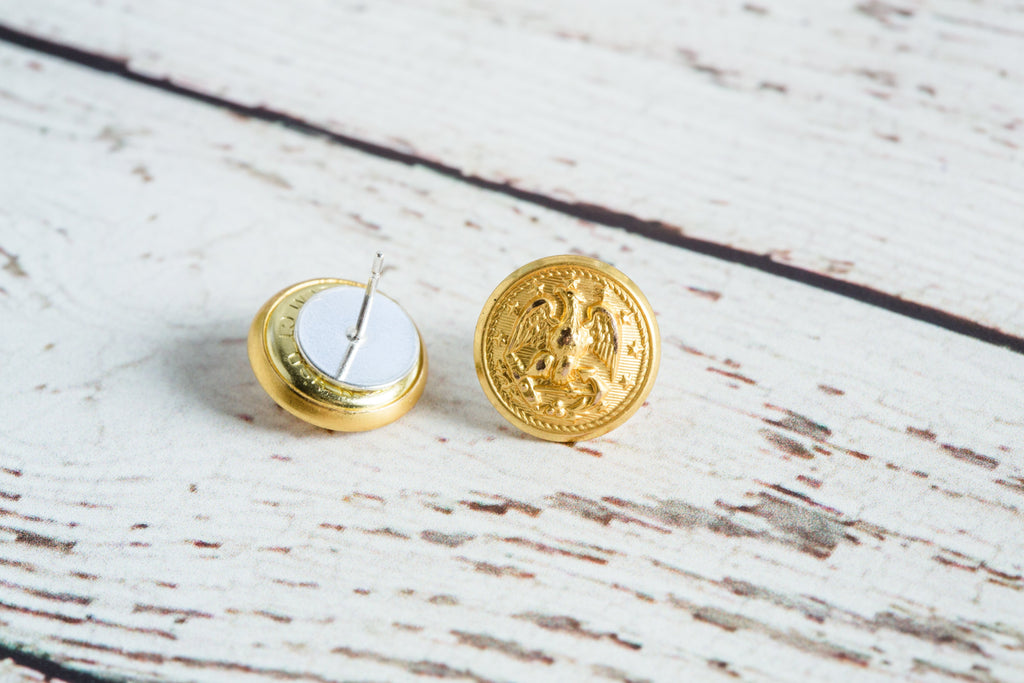 Hope Design Ltd. |  Navy Button Earrings
