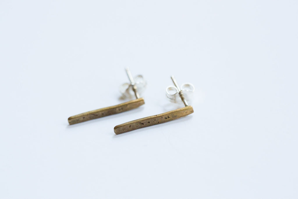 Original Hardware |  Yellow Bronze Bar Stud Earrings