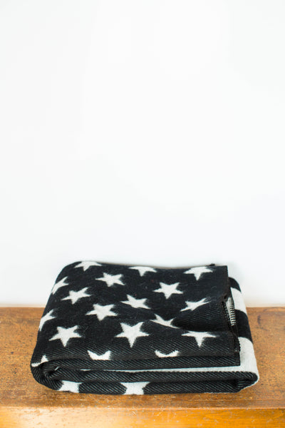 Faribault | American Flag Black & Heather Gray Wool Blanket