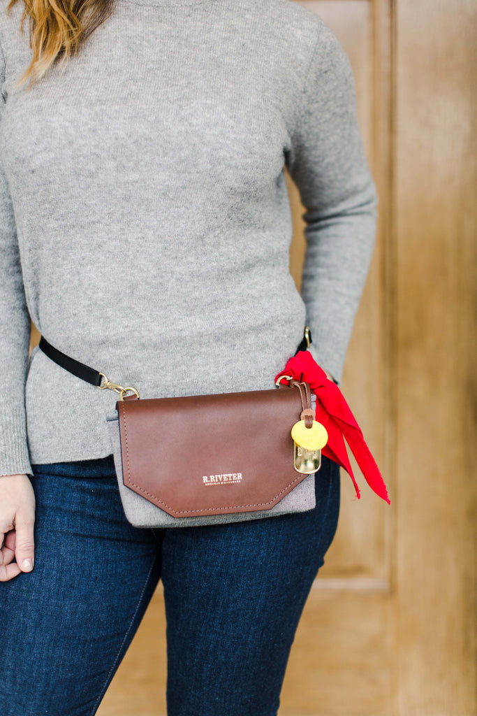 Whittle | Denim + Brown Leather Handbag