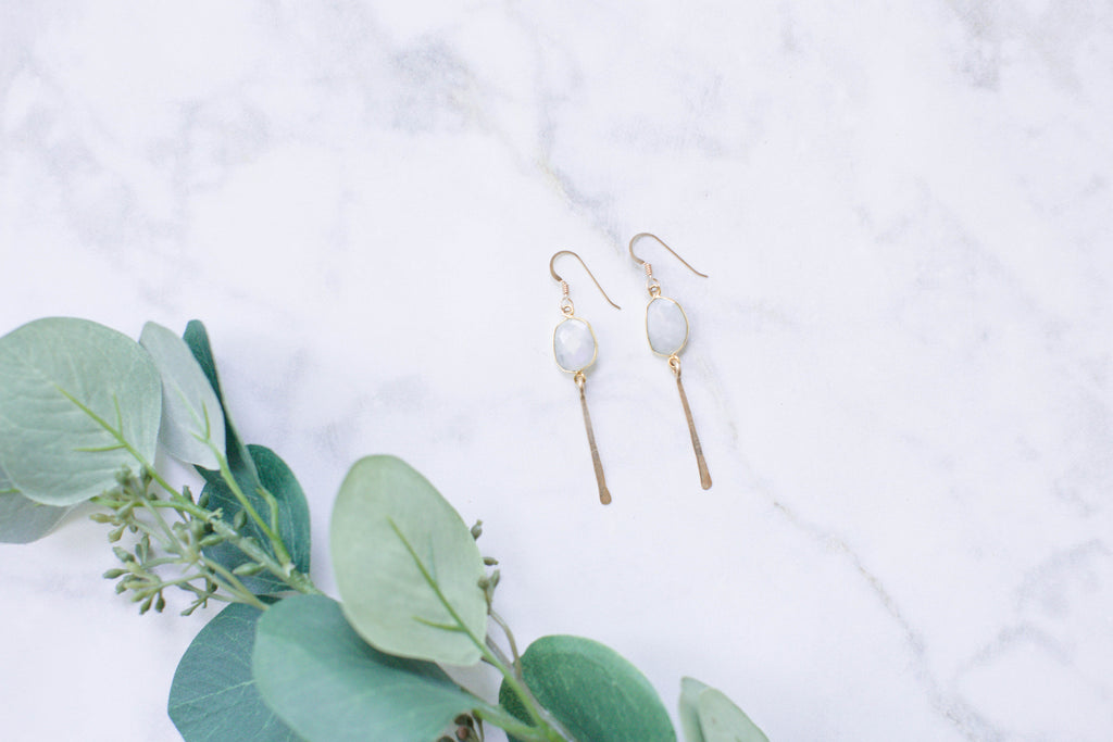Quinn Sharp | Organic Free Form Moonstone Bezel Dangle Earrings