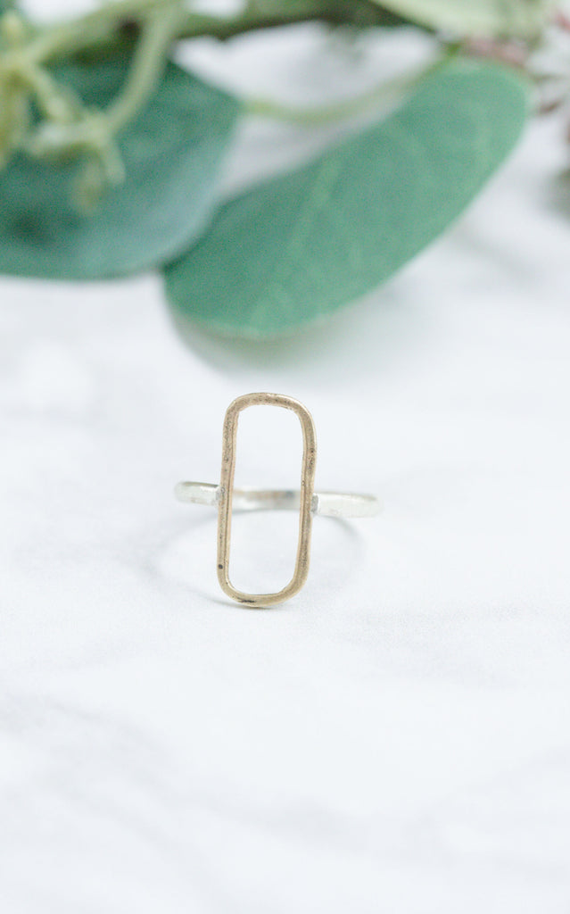Original Hardware | Yellow Bronze and Sterling Large Rectangle Ring