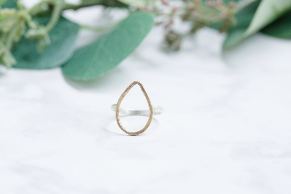 Original Hardware | Yellow Bronze Open Teardrop Ring