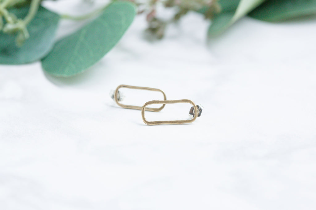 Original Hardware | Small Rectangle Stud Earrings Yellow Bronze