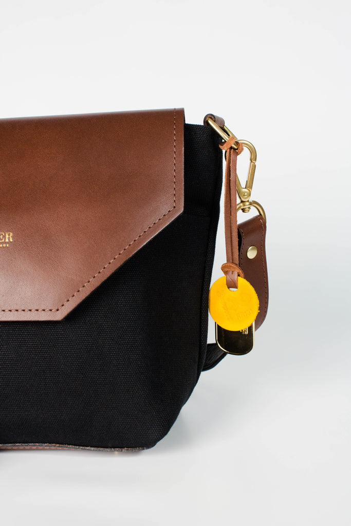Hobby | Signature Black Canvas + Brown Leather Handbag Hobby