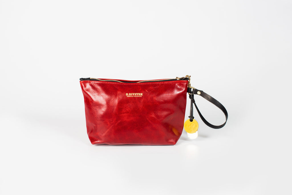 Naomi Leather Zipper Clutch | Rosie Red