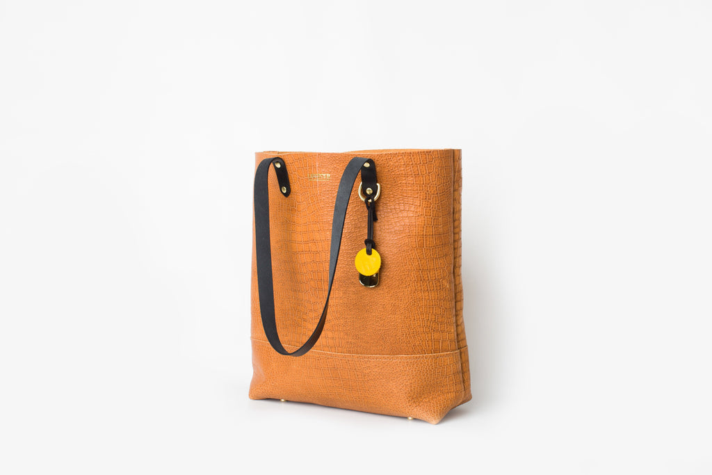 Special Edition Leather Tote | Tan Croc