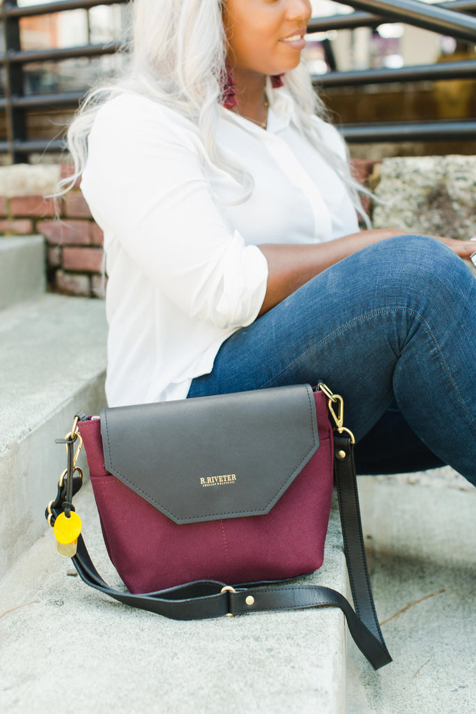 Hobby | Cabernet + Black Leather Handbag