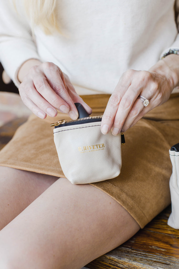 Leather Coin Pouch | Newsprint