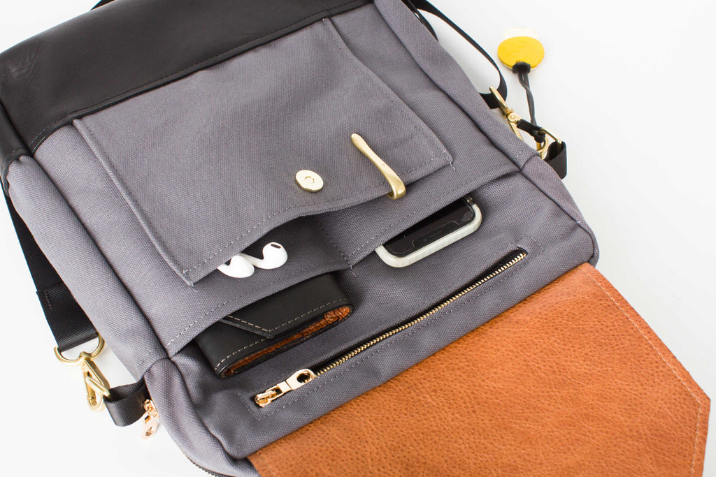 Corbin | Cobblestone + Black Leather Backpack