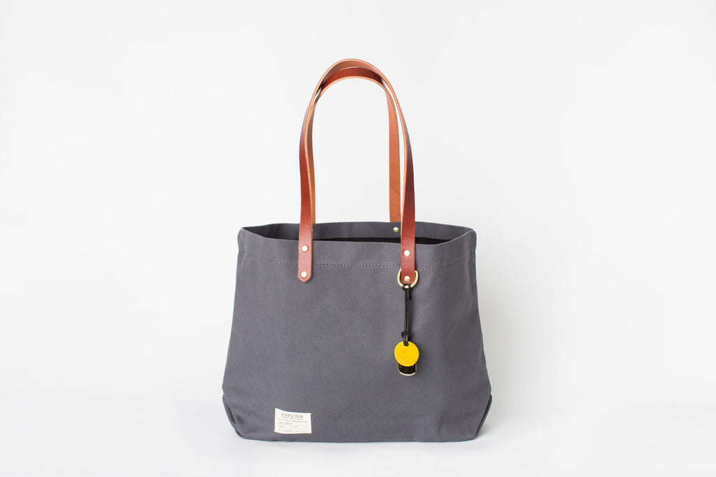 Wilson | Cobblestone + Brown Leather Tote