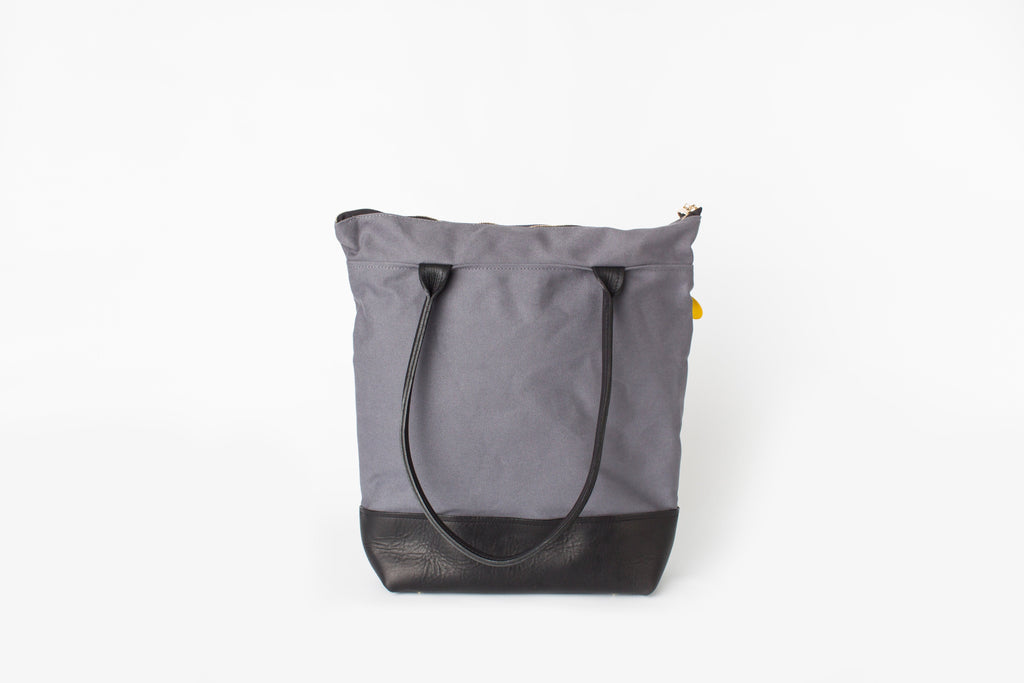 Grant | Cobblestone + Black Leather Tote
