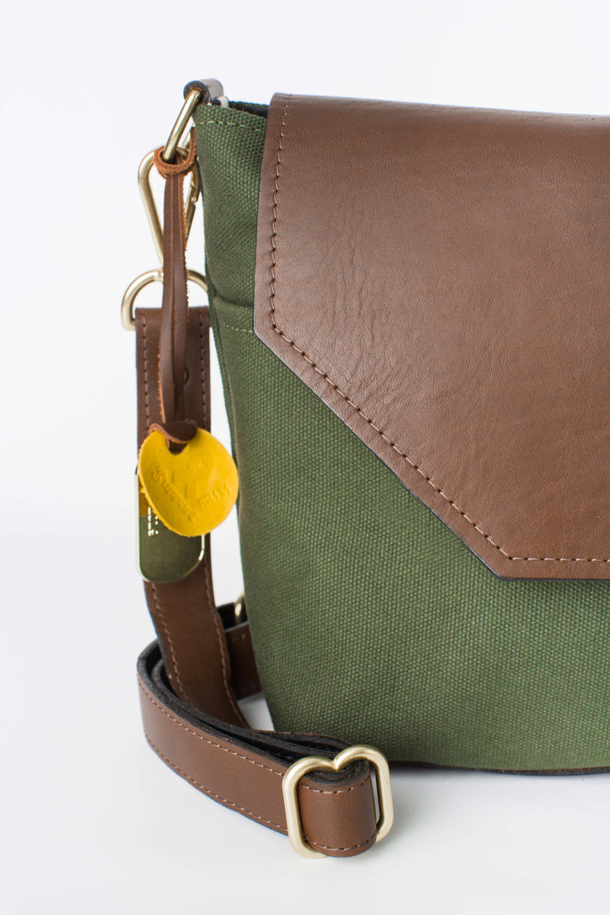Hobby | Olive + Brown Leather Handbag