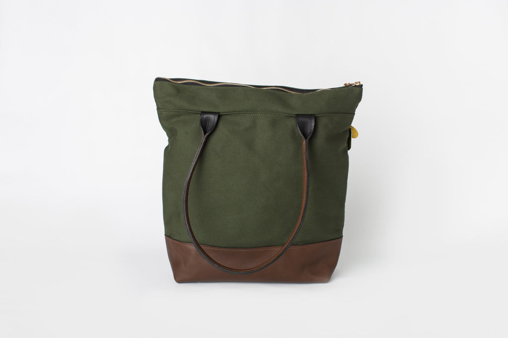 Grant | Olive + Brown Leather Tote