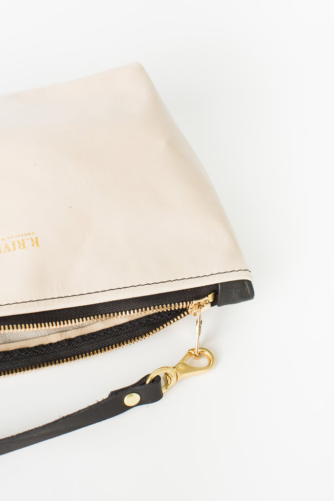 Naomi Leather Zipper Clutch | Newsprint Zipper Clutch