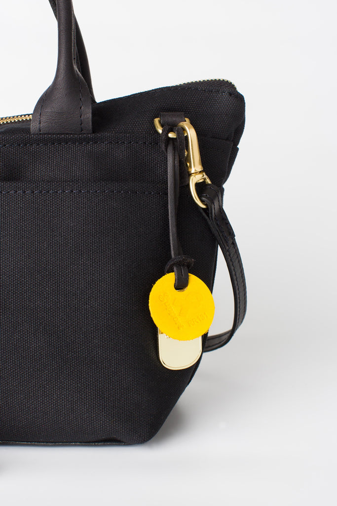 Dot | Signature Black Canvas + Black Leather Handbag