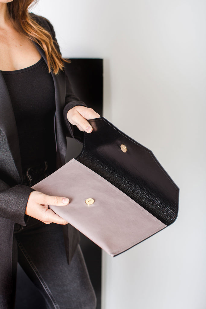 Special Edition Envelope Clutch | Mauve + Black Leather