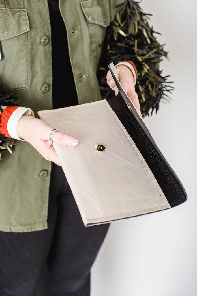 Special Edition Envelope Clutch | Newsprint + Black Leather
