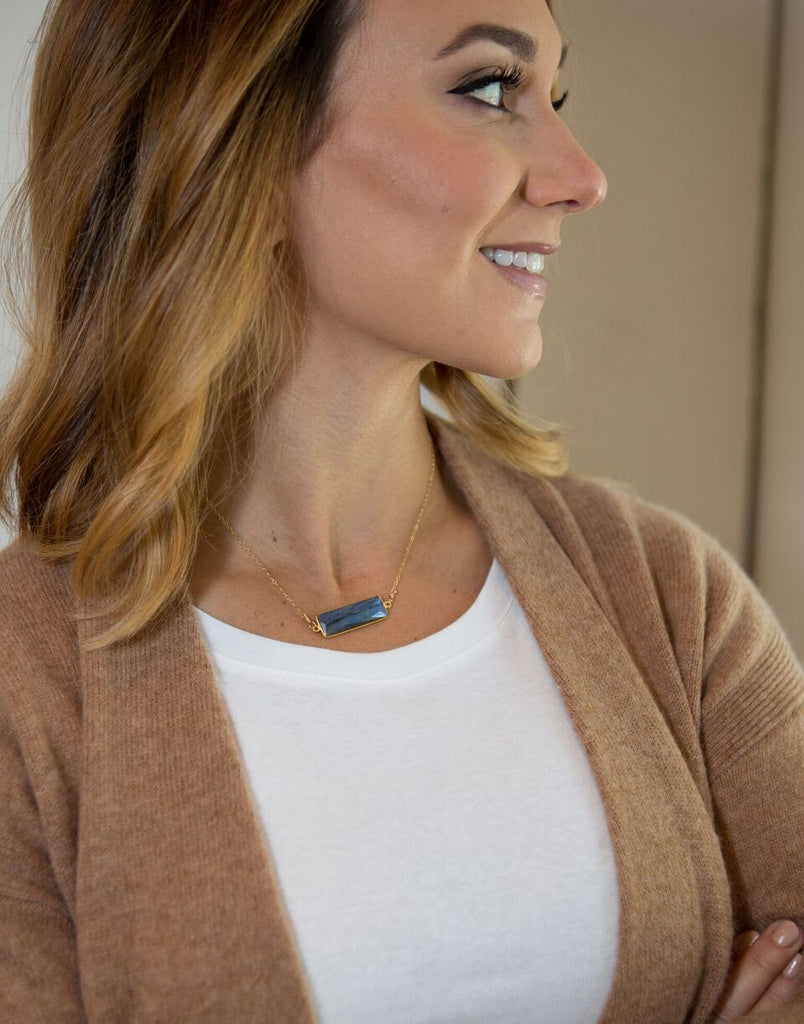 Quinn Sharp Designs | Labradorite Gemstone Bar Necklace