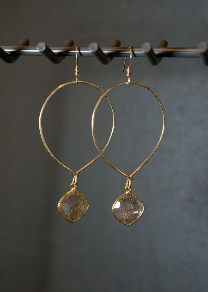 Quinn Sharp Designs | Inverted Hoops With Copper Infused Crystal Earrings