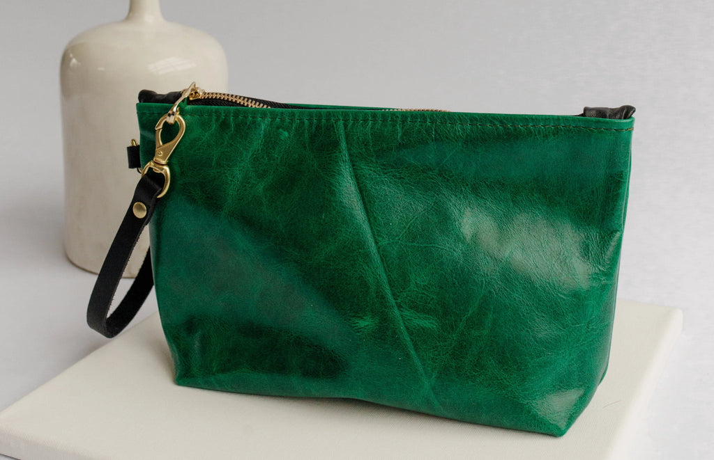 Naomi Leather Zipper Clutch | Emerald