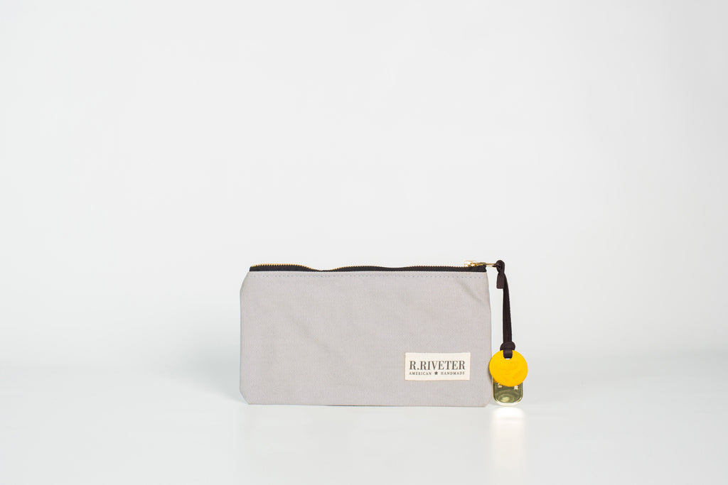 Zipper Pouch | Misty Morn with Brass Zipper