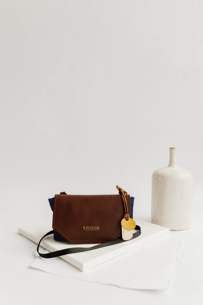Whittle | Nautical Navy Canvas + Brown Leather Handbag