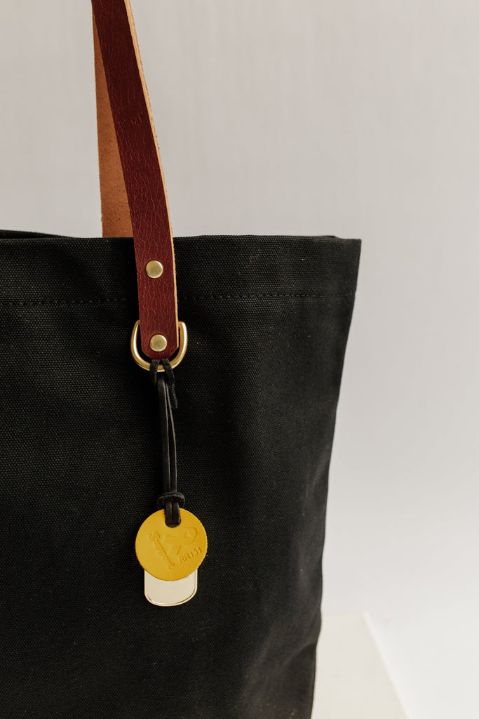 Wilson | Signature Black Canvas + Brown Leather Tote