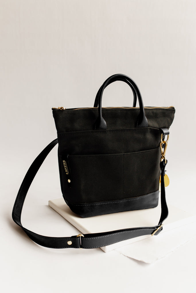 Otto | Signature Black Canvas + Black Leather Handbag