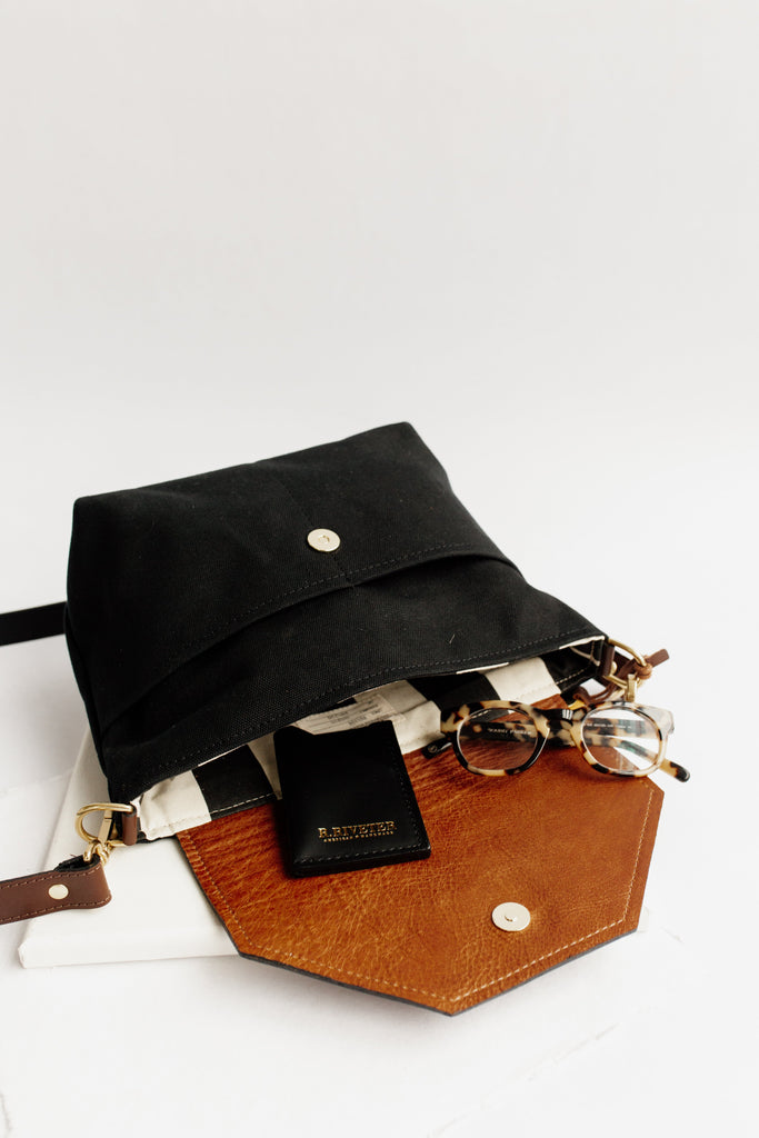 Hobby | Signature Black Canvas + Brown Leather Handbag
