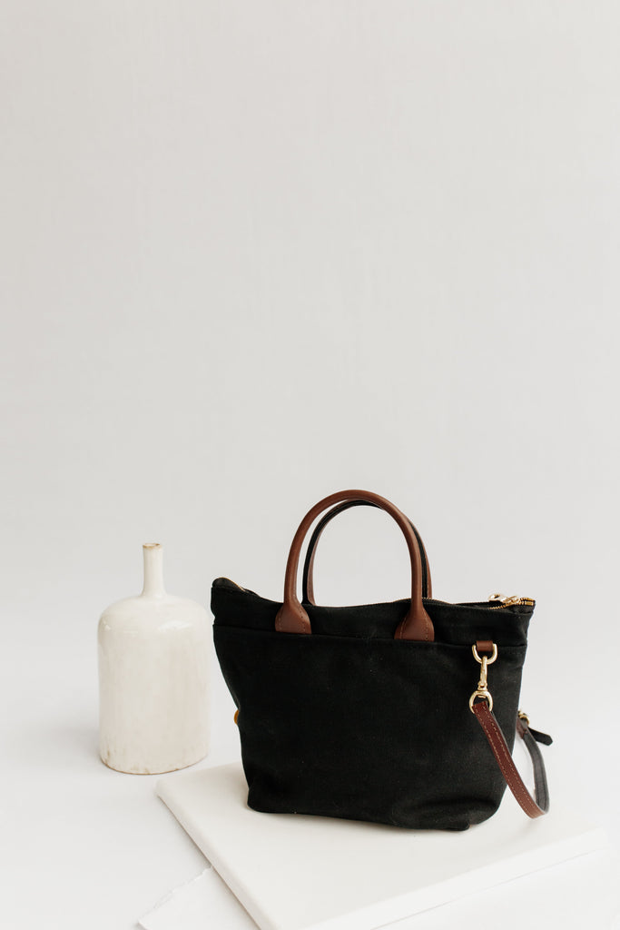 Dot | Signature Black Canvas + Brown Leather Handbag