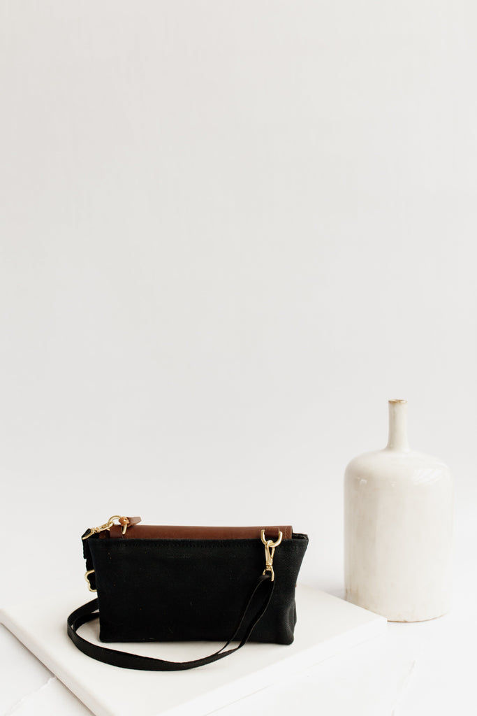 Patton | Signature Black Canvas + Brown Leather Crossbody Handbag