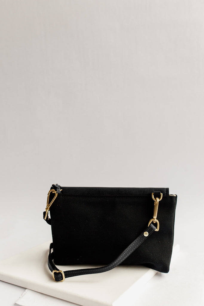 Patton | Signature Black Canvas + Black Leather Crossbody Handbag