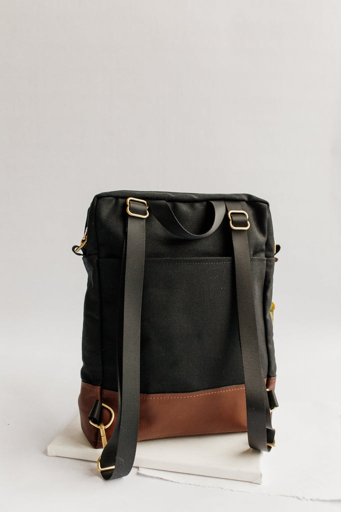 Corbin | Signature Black Canvas + Brown Leather Backpack