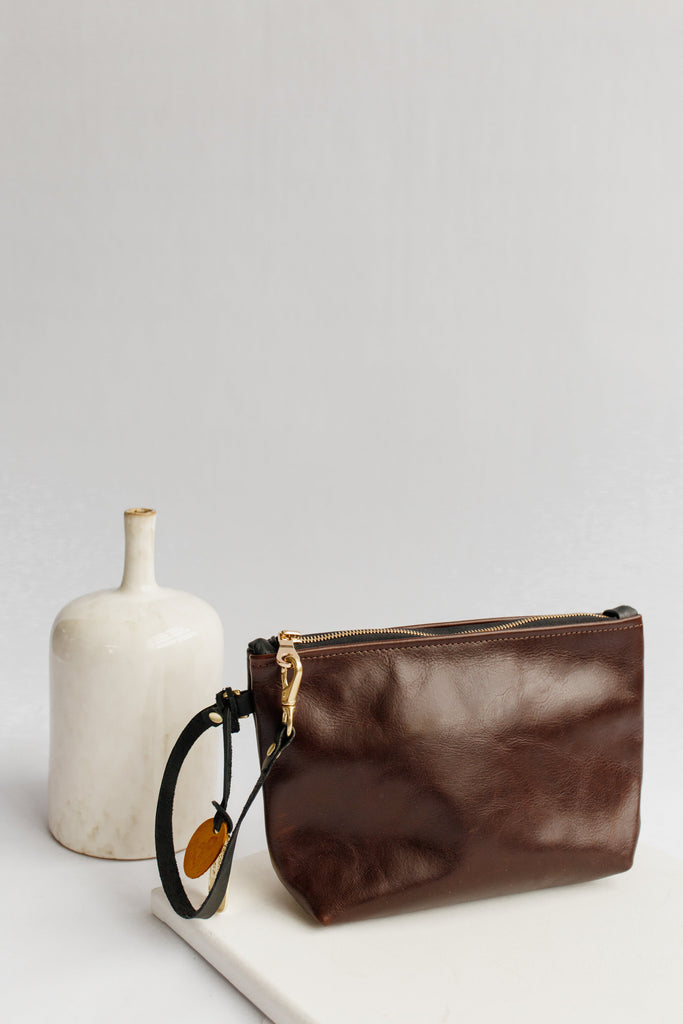 Naomi Leather Zipper Clutch | Walnut