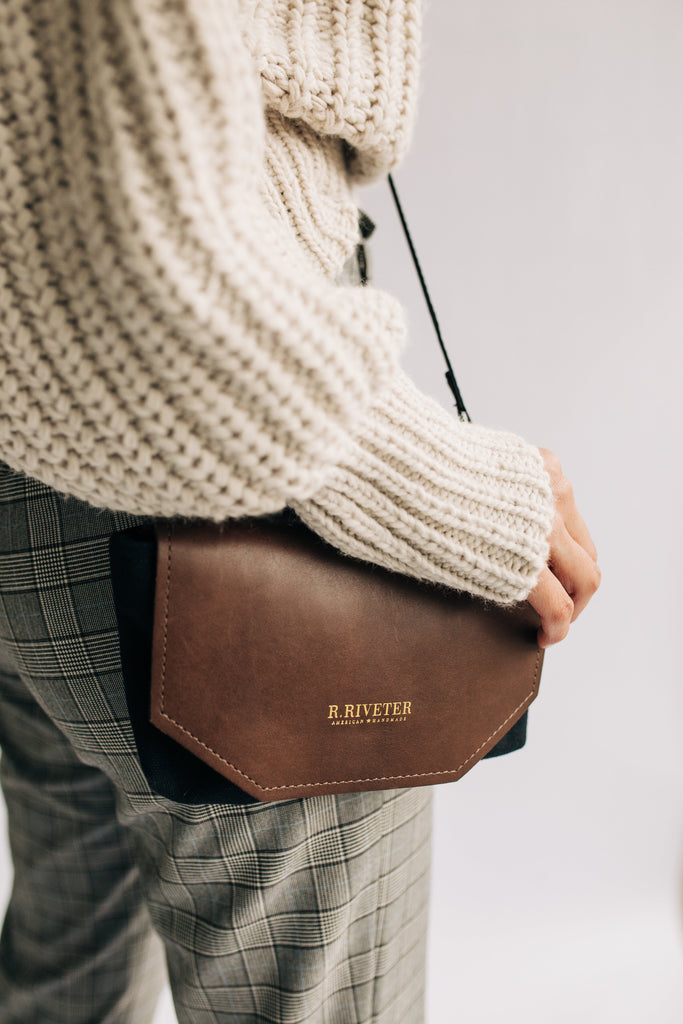 Whittle | Signature Black Canvas + Brown Leather Handbag