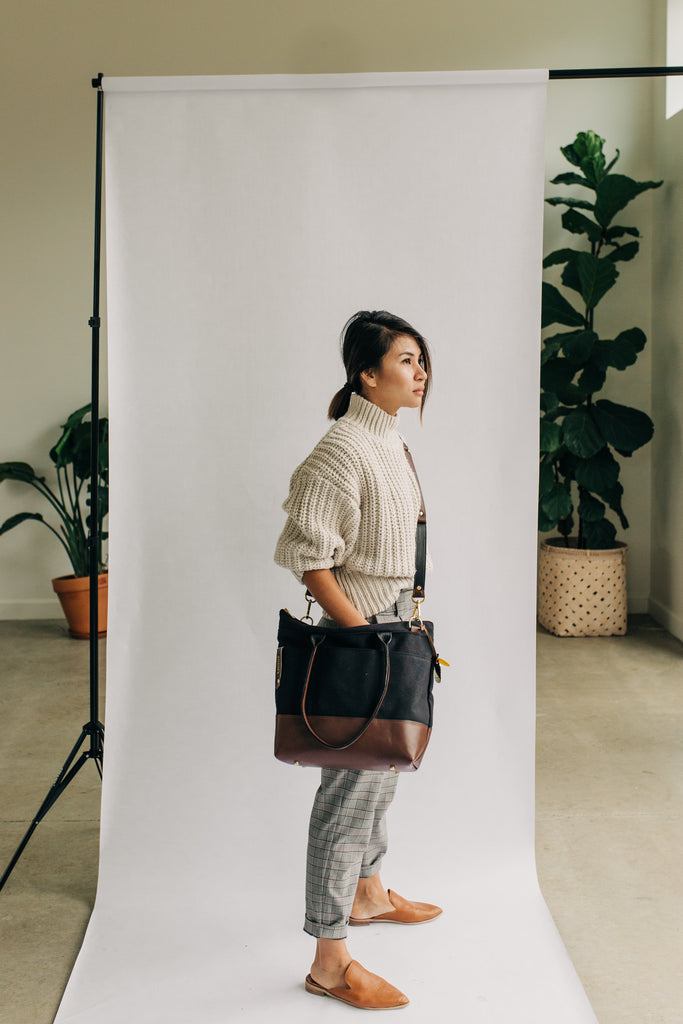 Williams | Signature Black Canvas + Brown Leather Tote