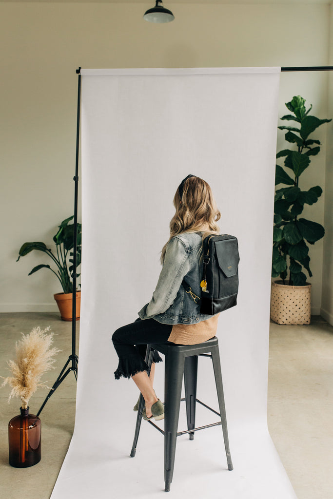 Corbin | Signature Black Canvas + Black Leather Backpack