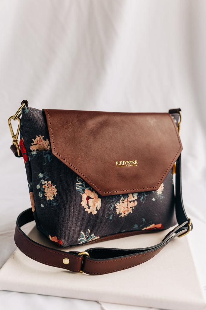 Hobby | Special Edition Vintage Botanical Print + Brown Leather Handbag