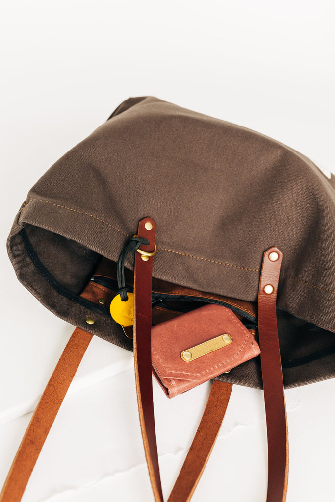 Wilson | Umber Canvas + Brown Leather Tote