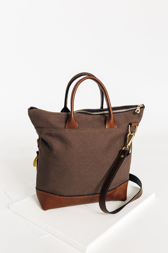Otto | Umber Canvas + Brown Leather Handbag