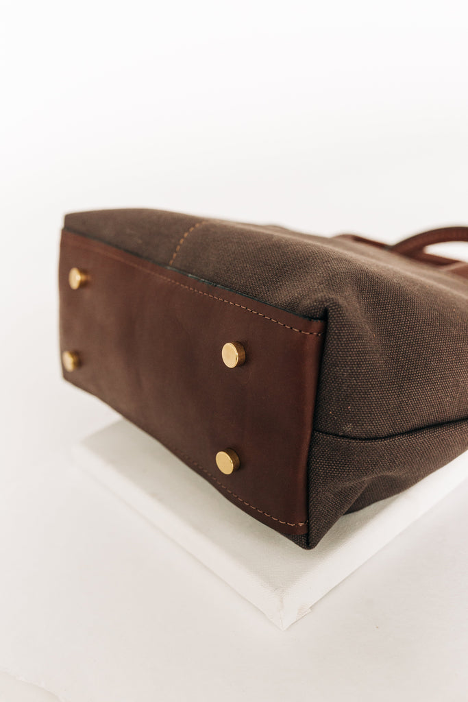 Dot | Umber Canvas + Brown Leather Handbag
