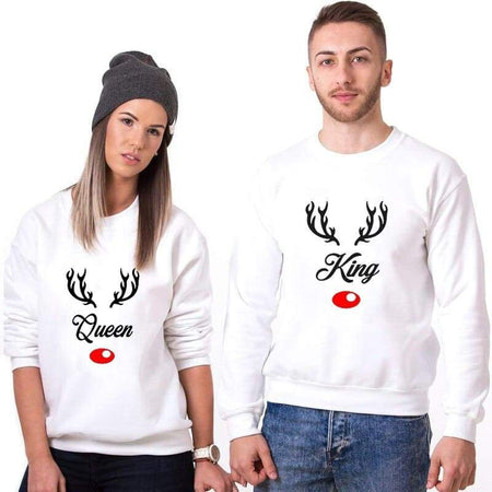 Couple avec Sweat Couple King et Queen Edition Noel Insta Couple la Boutique de tous les couples