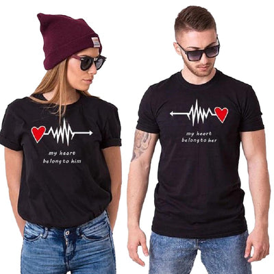 T Shirt Couple Battement Cardiaque