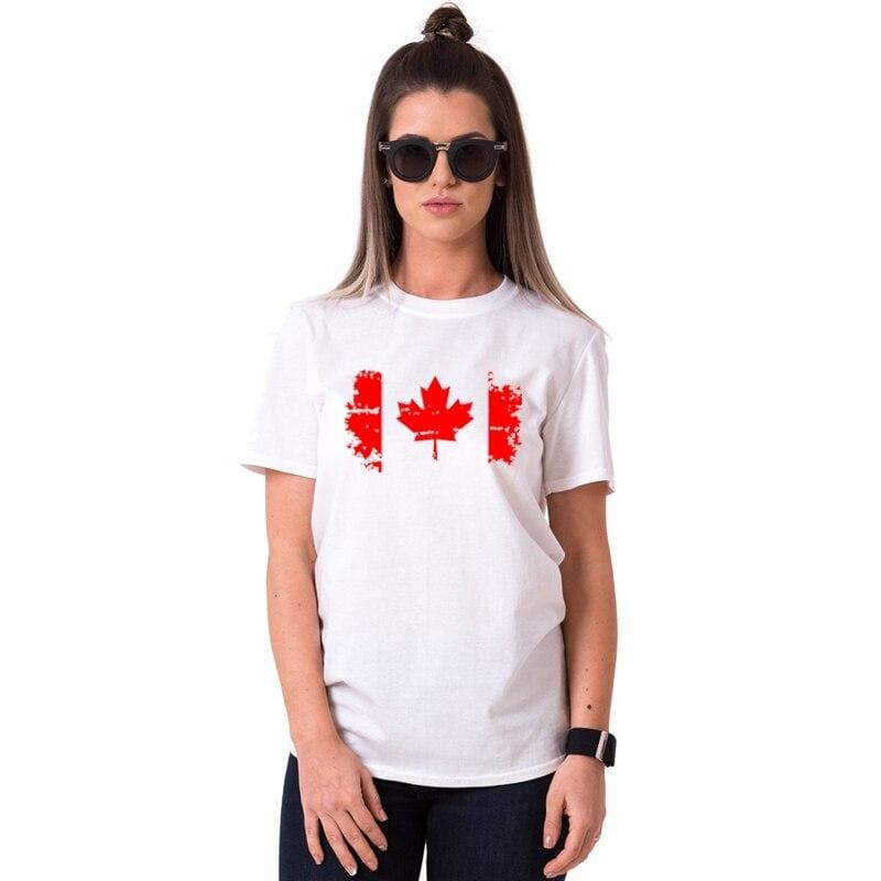 T Shirt Couple Drapeau Canadienne