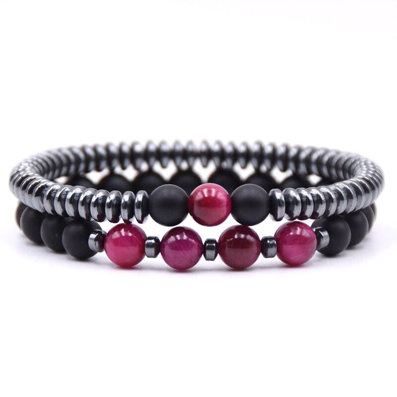 bracelet-couple-distance-fushia-magnetique