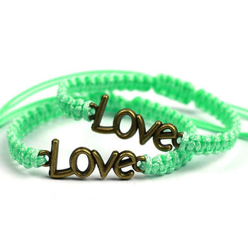 Bracelet de Couple Distance Tresse d'Amour