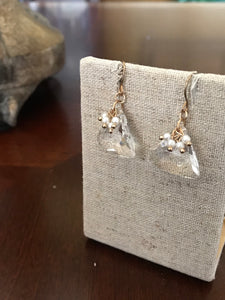 Triangle Clear Stone Earring with Gold Accent