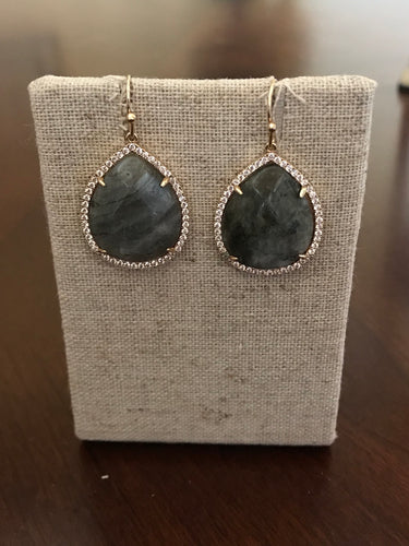 Dark Grey and Gold Rhinestone Earrings