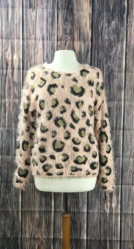 Long Sleeve Cheetah Print Sweater